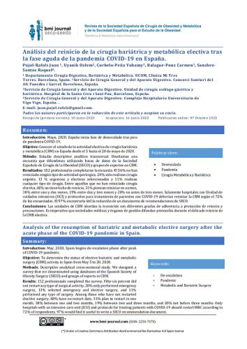 Análisis del reinicio de la cirugía bariátrica y metabólica electiva tras la fase aguda de la pandemia COVID19 en España